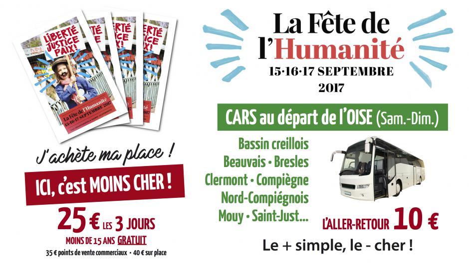 Fête de l'Humanité 2017 : j'achète ma vignette pour seulement 25 € et je réserve ma place de bus !