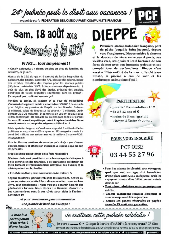 Tract « Journée à la mer - Fête de l'Humanité » par secteur géographique - PCF Oise, juin & juillet 2018