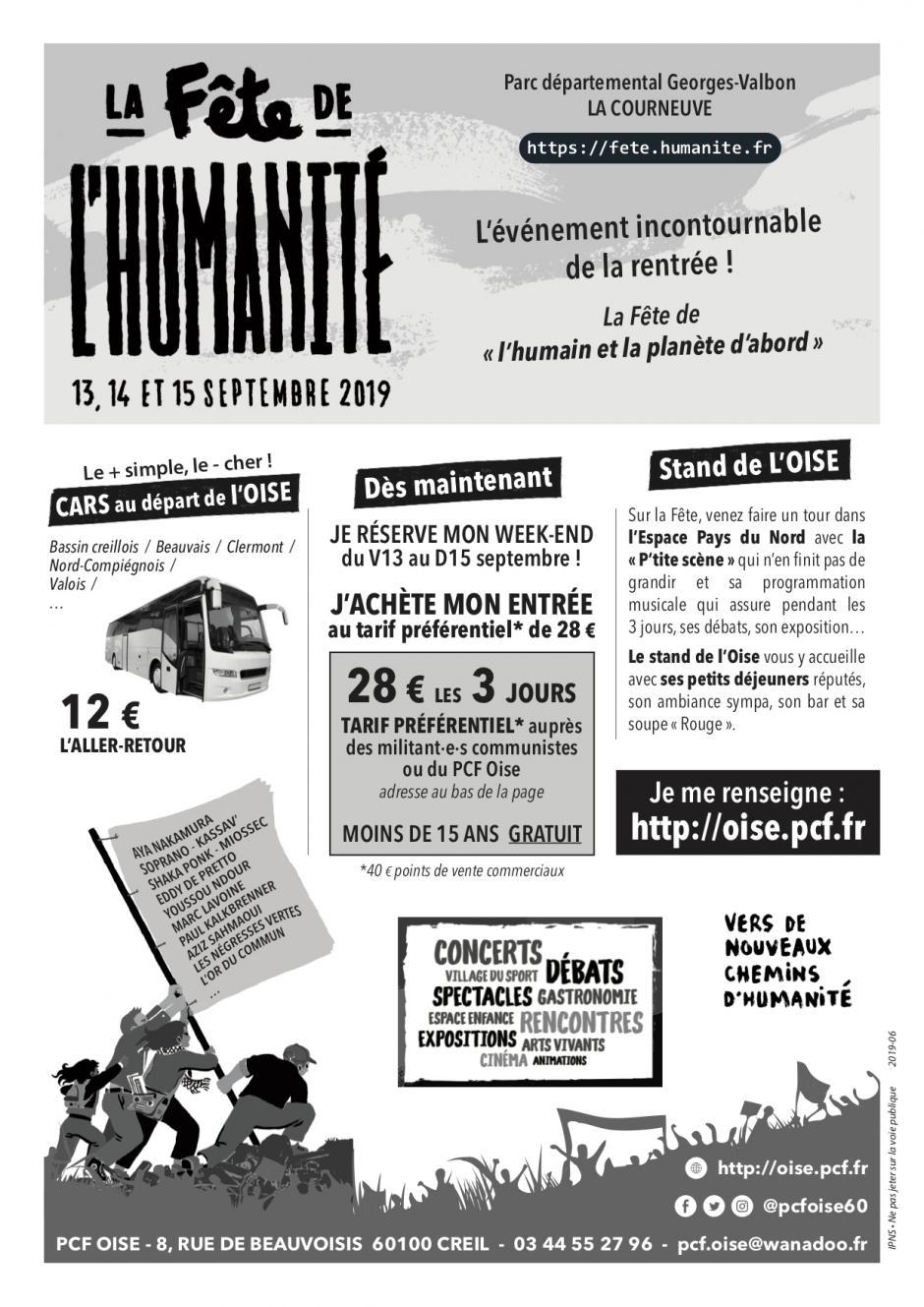 Tract « Fête de l'Humanité 2019 » - PCF Oise, 13, 14 & 15 septembre 2019
