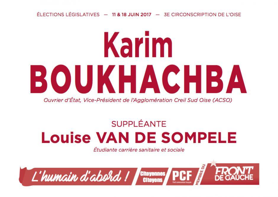 Bulletin de vote « Karim Boukhachba et Louise Van de Sompele (suppléante) » - 3e circonscription de l'Oise, 11 juin 2017