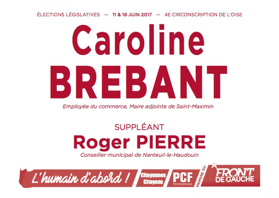 Bulletin de vote « Caroline Brebant et Roger Pierre (suppléant) » - 4e circonscription de l'Oise, 11 juin 2017