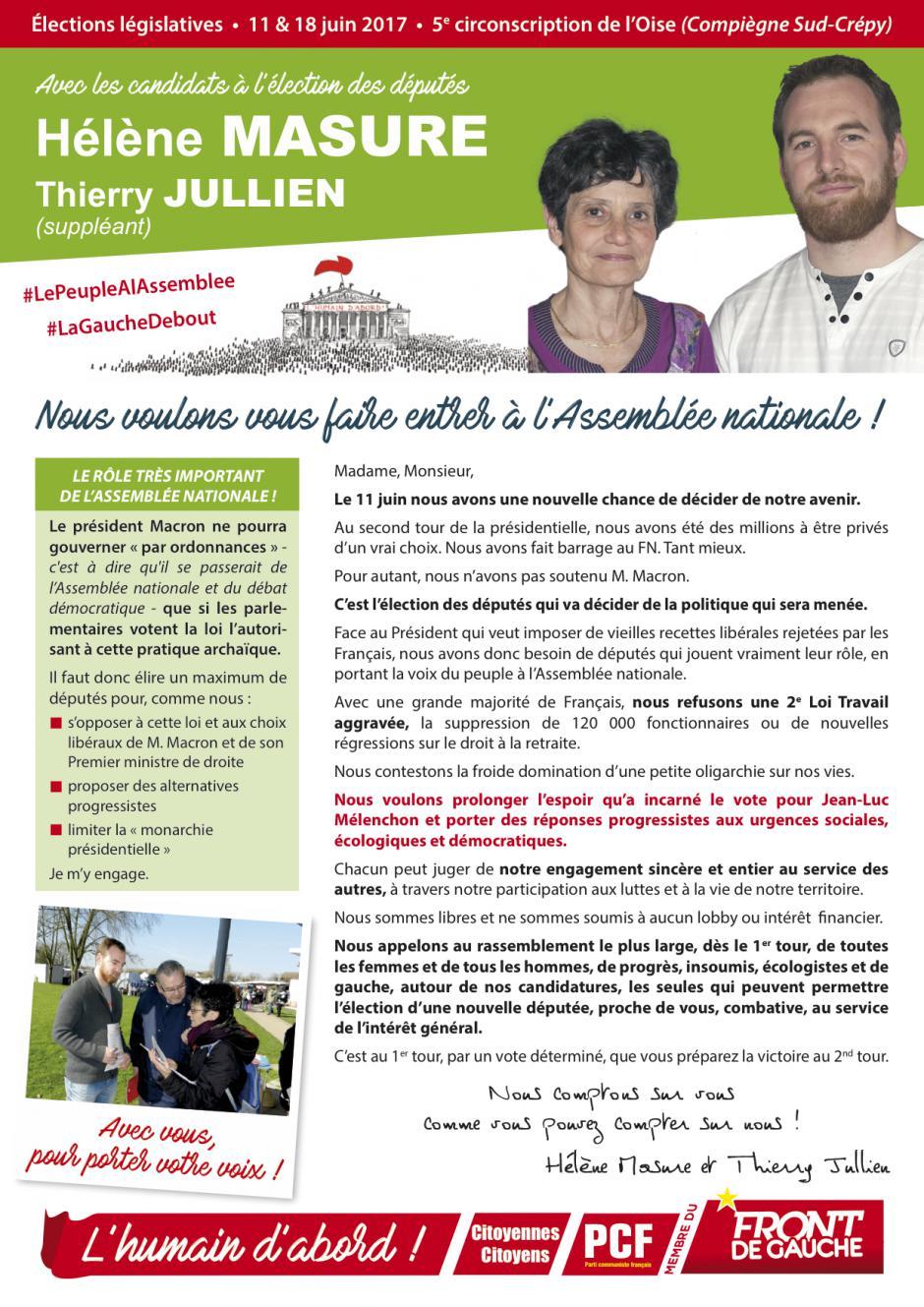 Profession de foi de Hélène Masure et Thierry Jullien - 5e circonscription de l'Oise, 11 juin 2017