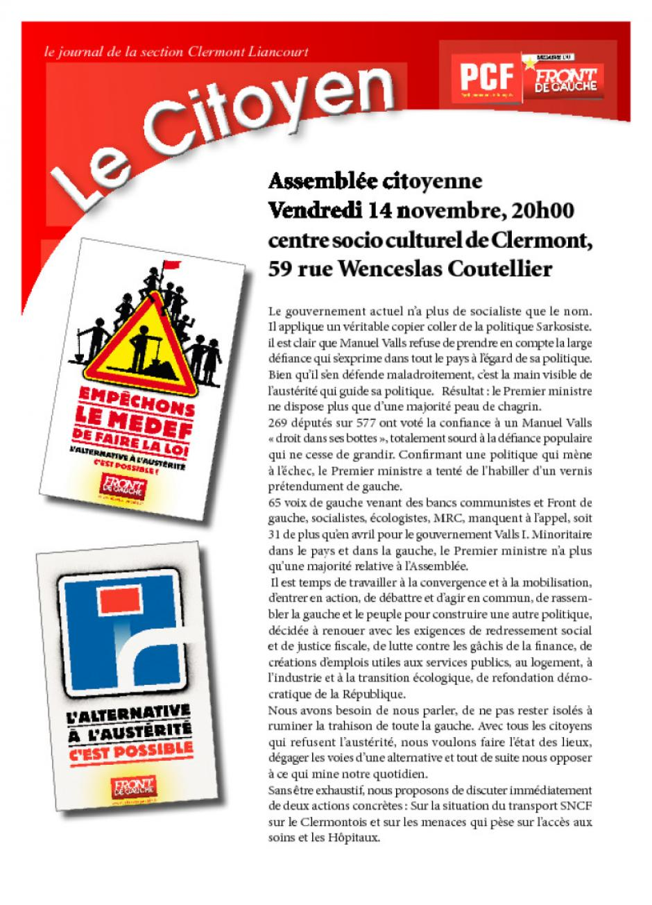 Journal « Le Citoyen » - Section PCF de Clermont-Liancourt, novembre 2014