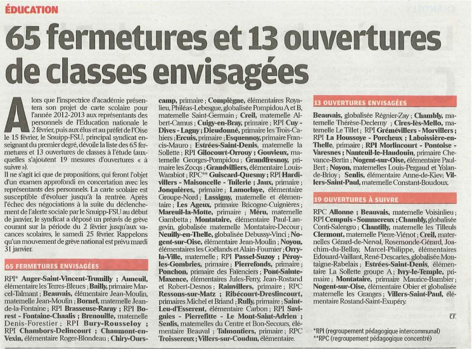 20120127-LeP-Oise-65 fermetures et 13 ouvertures envisagées