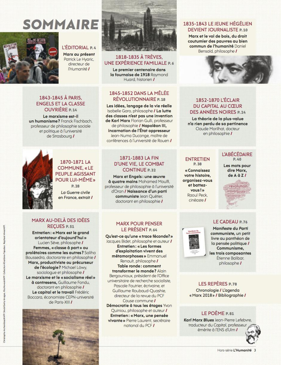 Sommaire du hors-série de l'Humanité « Marx, le coup de jeune »