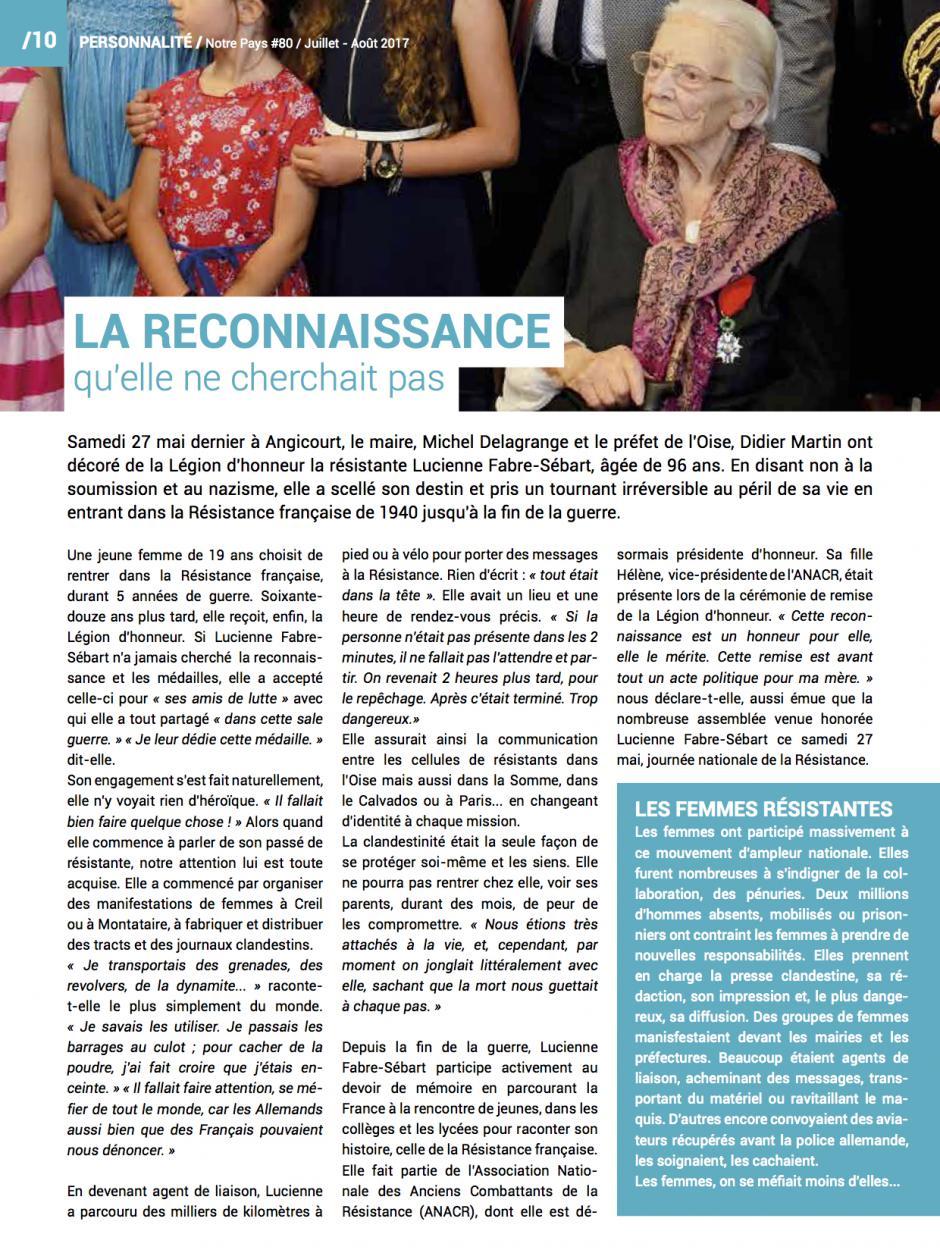 Lucienne Fabre-Sébart, la reconnaissance qu'elle ne cherchait pas - Notre pays, juillet-août 2017