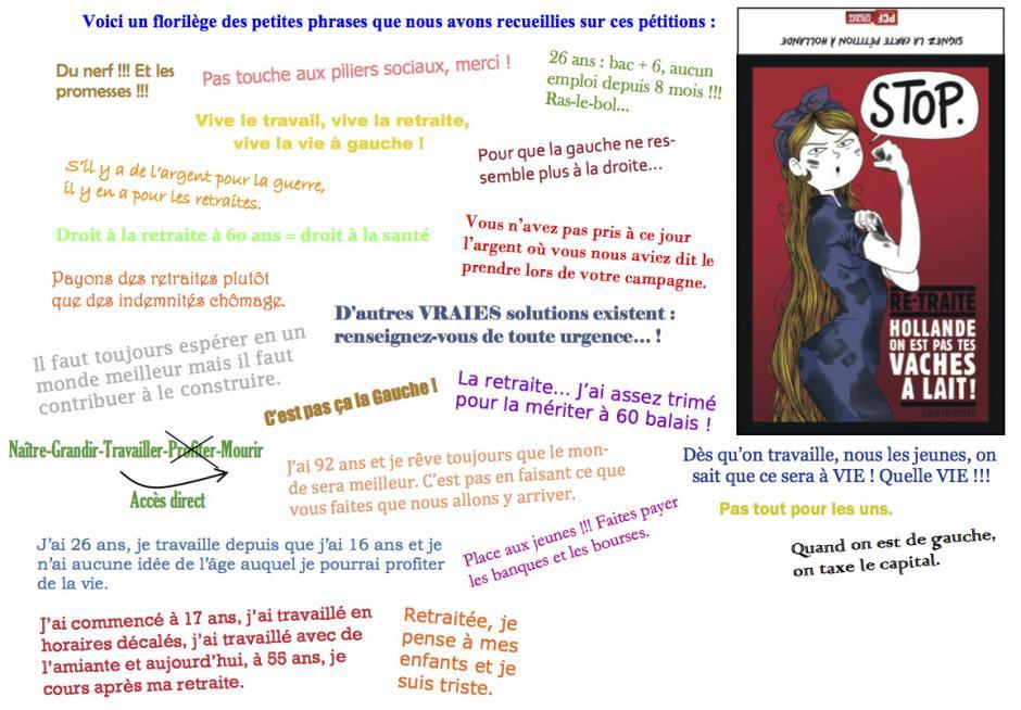 Florilège des mots adressés à Hollande lors de la signature des cartes-pétitions - Oise Avenir n° 1299, 2 mai 2013