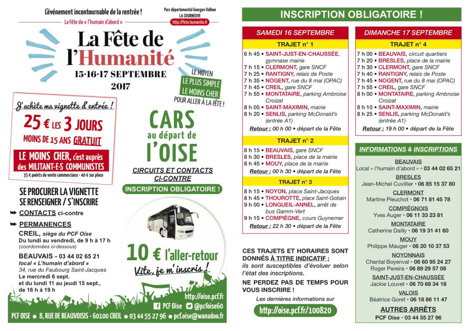 Flyer « Fête de l'Humanité - Cars au départ de l'Oise » - Septembre 2017