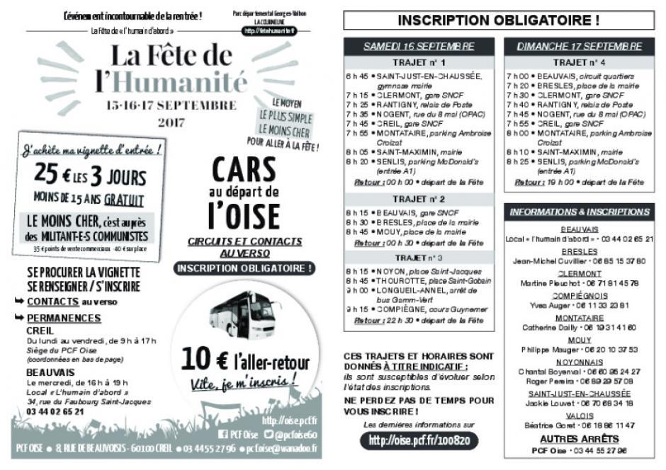 Flyer « Fête de l'Humanité - Cars au départ de l'Oise » - Oise Avenir n° 1336, 30 août 2017