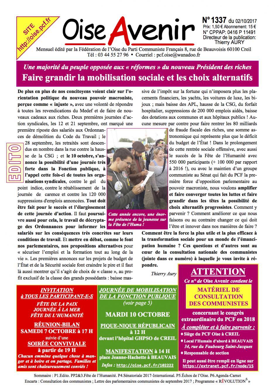 Oise Avenir n° 1337 du 2 octobre 2017
