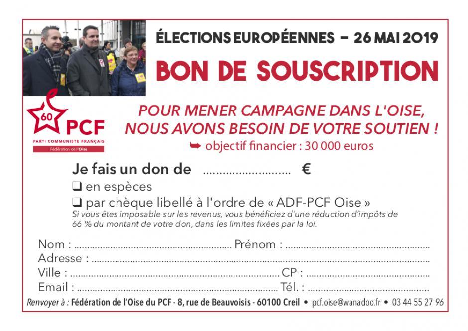 Bon de souscription « Européennes 2019 » - PCF Oise, mars 2019