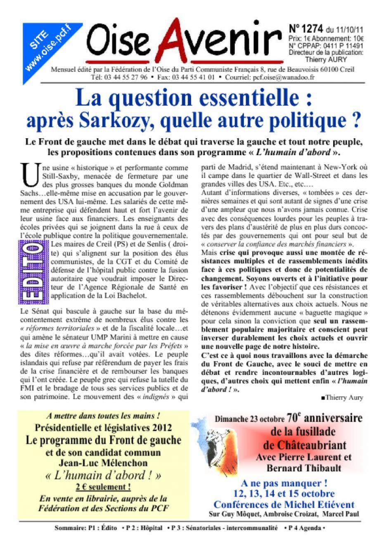 OA1274-P1-Éditorial-La question essentielle : après Sarkozy, quelle autre politique ?