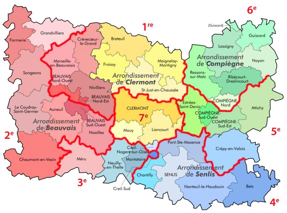 Les sept circonscriptions de l'Oise