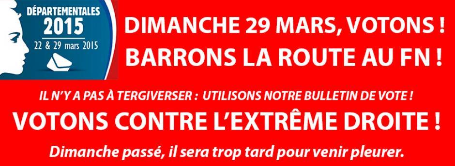 Dimanche 29 mars, barrons la route au FN : votons !