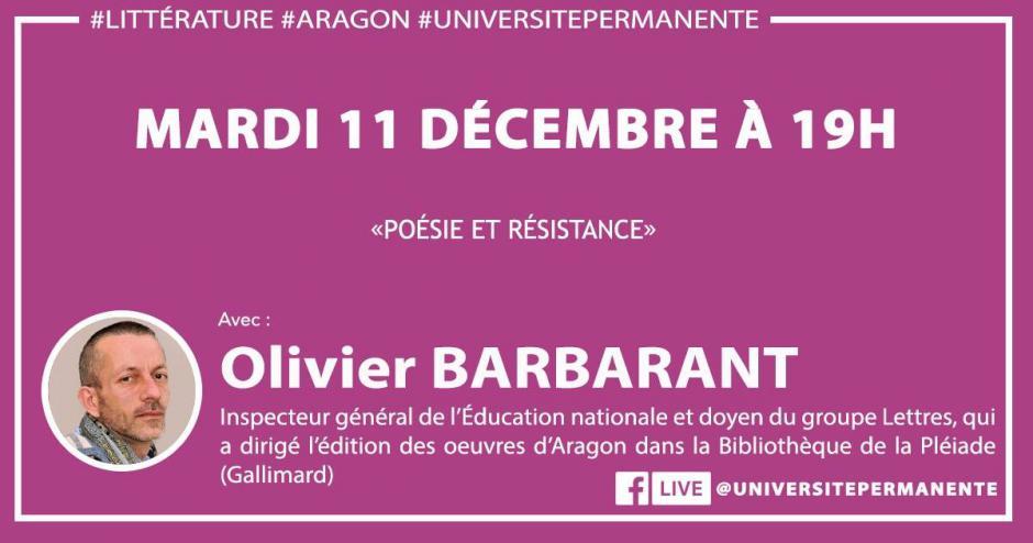 12 décembre, Beauvais & Creil - Université permanente : écoutes collectives « Poésie et Résistance », avec Olivier Barbarant