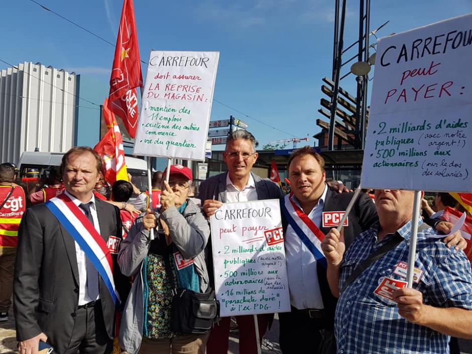 Les magasins Carrefour ferment, l'argent coule à flots pour les actionnaires et l'ex-PDG - Aubervilliers et Beauvais, 15 juin 2018