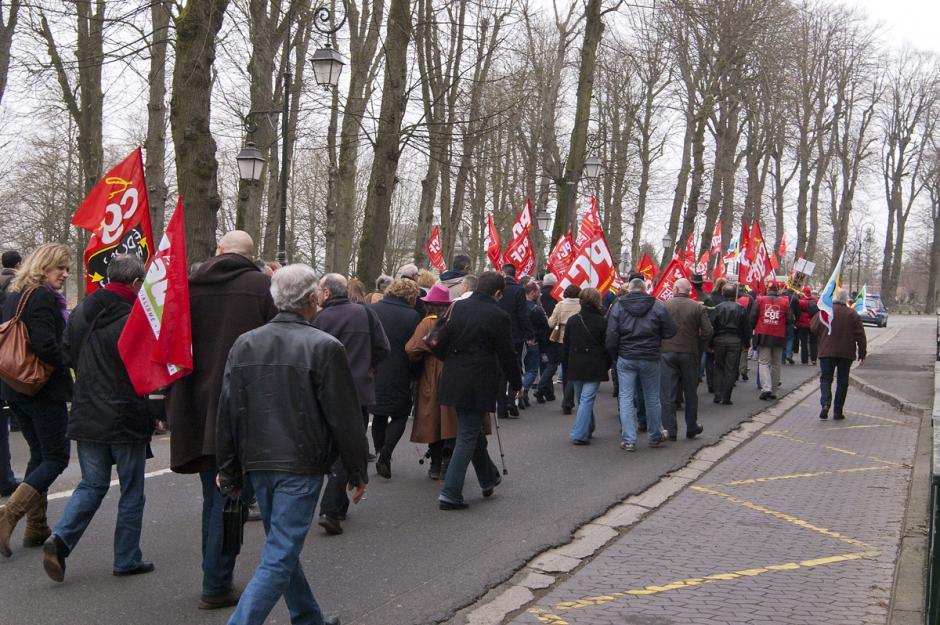 Manifestation dans le cadre de la journée d'action européenne syndicale - Senlis, 29 février 2012