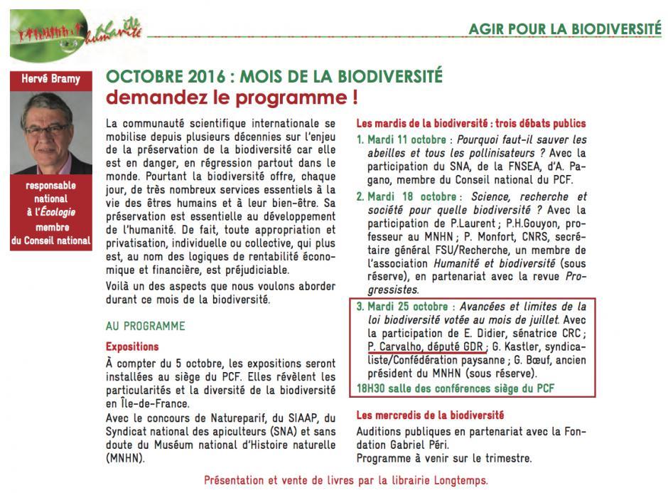 25 octobre, Paris - Débat public « Avancées et limites de la loi Biodiversité votée au mois de juillet », avec Patrice Carvalho