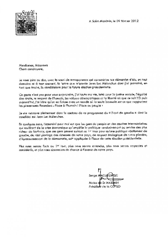Le maire de Saint-Maximin au bout de ses convictions : appel à voter Mélenchon, rôle des banques, droit de vote des étrangers - Février 2012