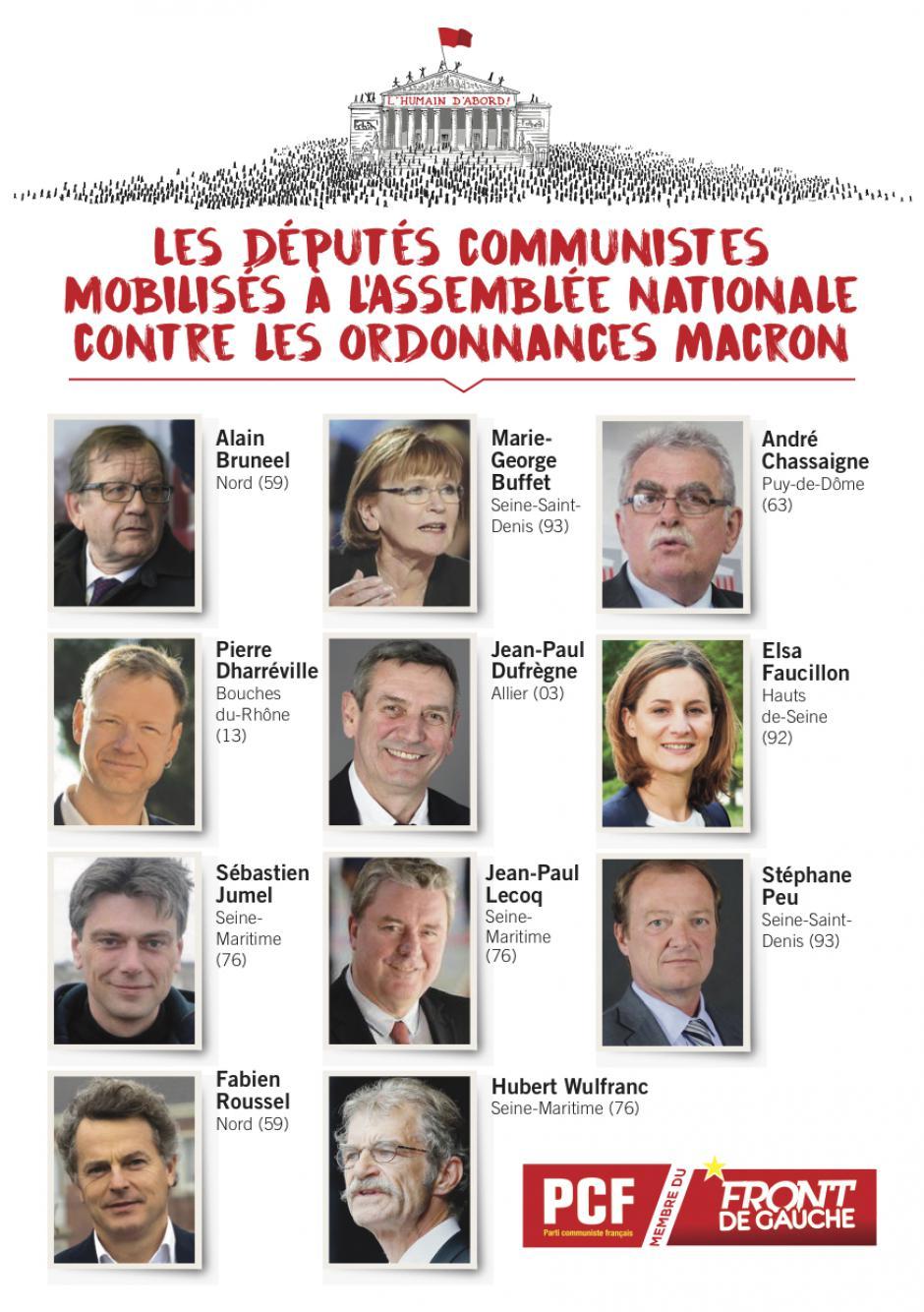Tract « Les députés communistes mobilisés à l'Assemblée nationale contre les ordonnances Macron » - 27 juin 2017