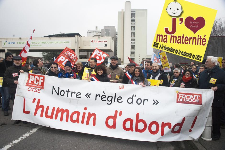 Forte mobilisation pour la première manifestation contre la fermeture de la maternité ! - Creil, 27 janvier 2018